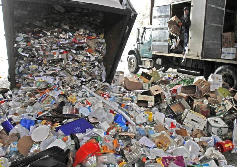 A truck unloads recycled material in E. Montpelier.