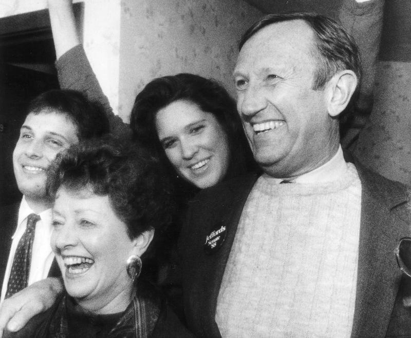 In this Sept. 13, 1988, file photo, Jim Jeffords celebrates his primary victory for the U.S. Senate with his family in Montpelier. Shown, from left, are Jeffords' son, Leonard, his wife, Liz, his daughter, Laura, and Jeffords.