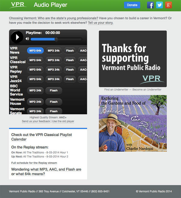 A screen capture of the new VPR Audio Player