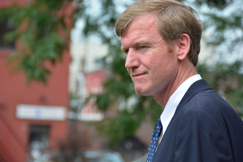 Scott Milne, shown here at a campaign event over the summer, says Shumlin's victory announcement was premature.