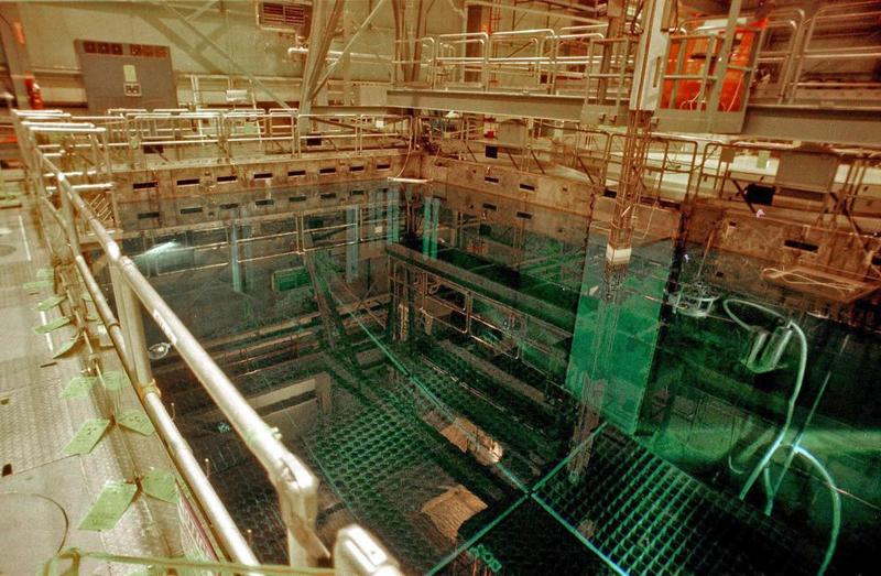 The spent nuclear fuel at Vermont Yankee is being moved from the cooling pools, shown in this photo, into dry cask storage.