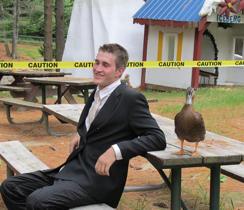 Santa's Land caretaker Brian Deistler with pet duck.