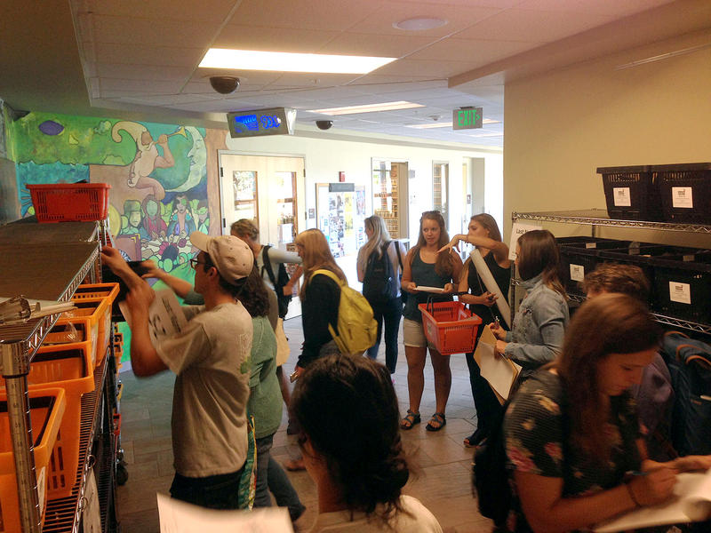 UVM students pick up their local food baskets on the first day of the 12-week program.