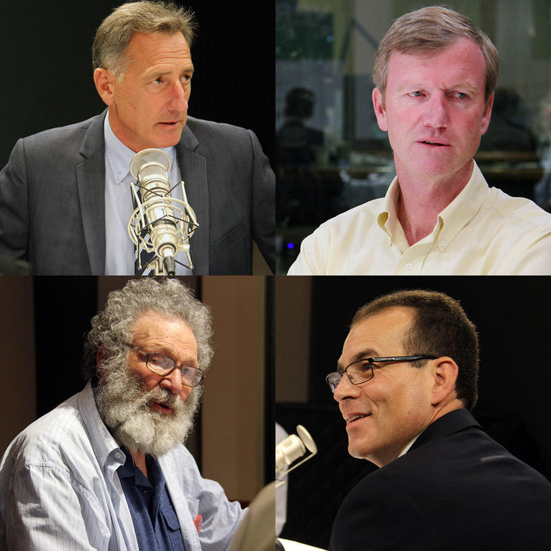 Clockwise from upper left, incumbent Democratic Gov. Peter Shumlin, Republican Scott Milne, Libertarian Dan Feliciano and Liberty Union candidate Peter Diamondstone gathered for a live debate at VPR on Sept. 23.