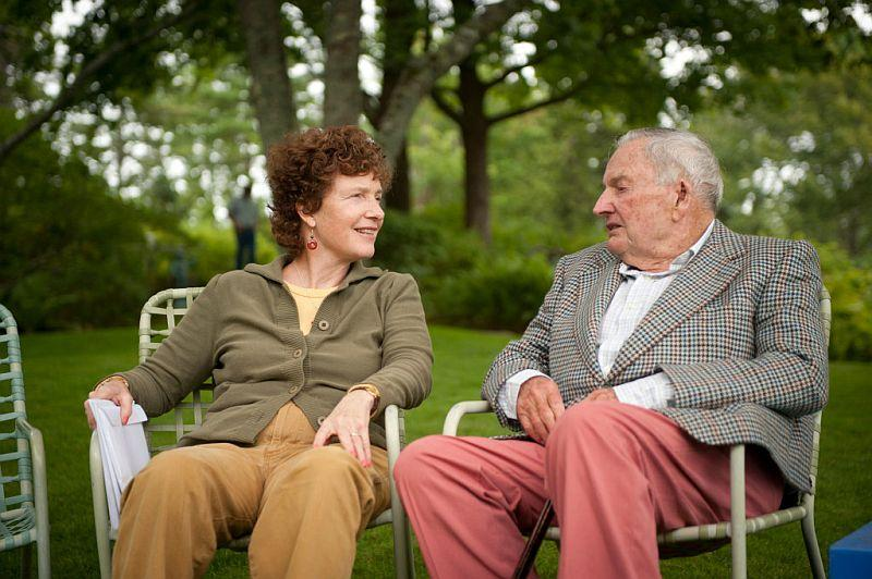 Eileen Rockefeller (left) with her father David Rockefeller at age 95, Seal Harbor, Maine, 2010