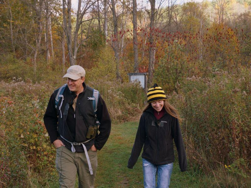 Kent McFarland and Sara Zahendra enjoying a fall day at the Northbranch Nature Center in Montpelier.