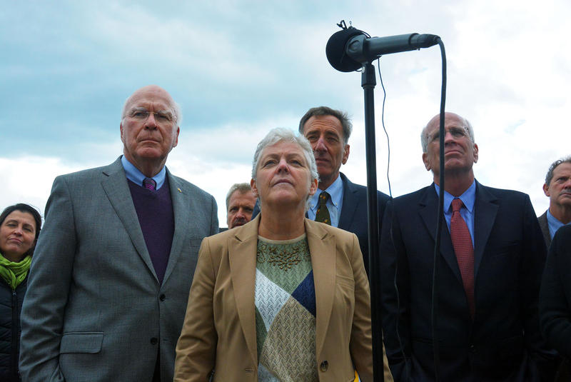 Environmental Protection Agency Administrator Gina McCarthy, flanked by Sen. Patrick Leahy, Rep. Peter Welch and Gov. Peter Shumlin, heard from Vermonters about Lake Champlain cleanup Friday.