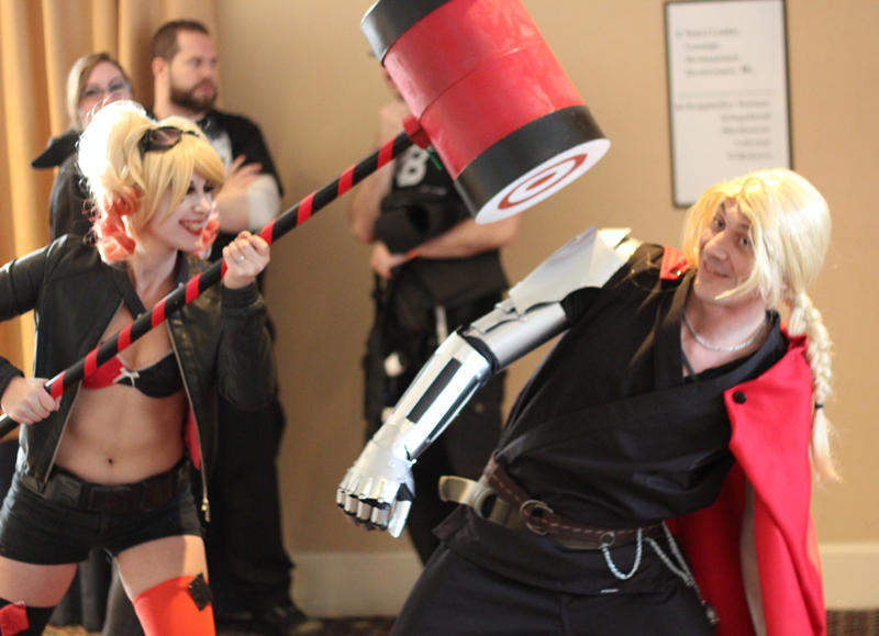 Katherine Chagnon, dressed as Harley Quinn from the Batman comics, looms over Curtis Swafford, dressed as Edward Elric from Fullmetal Alchemist. Click the photo above to see a slideshow cosplay pictures from Vermont Comic Con in Burlington.