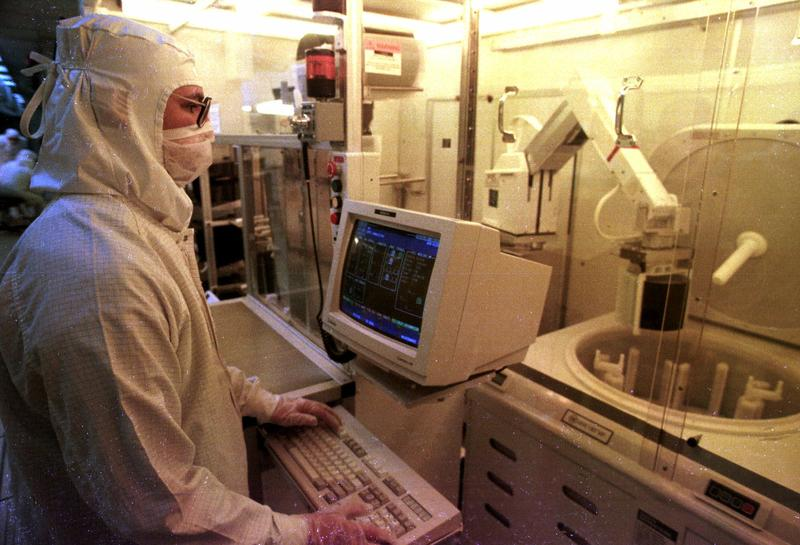 A worker at the IBM plant in Essex Junction in 1995.