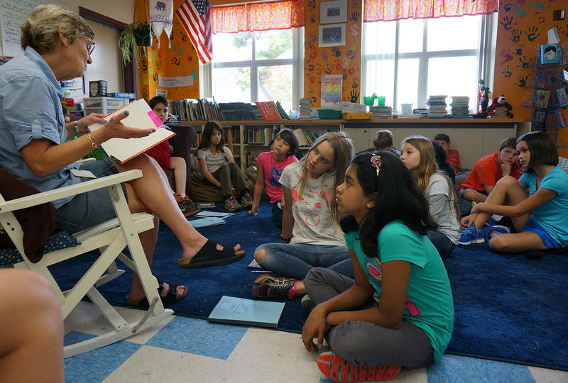 Bobbe Pennington reads 'Salt' aloud to her fifth grade class.
