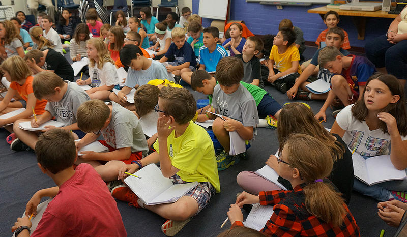 All three fifth grade classes at Rick Marcotte Central School, in South Burlington, got together to discuss 'Salt'.