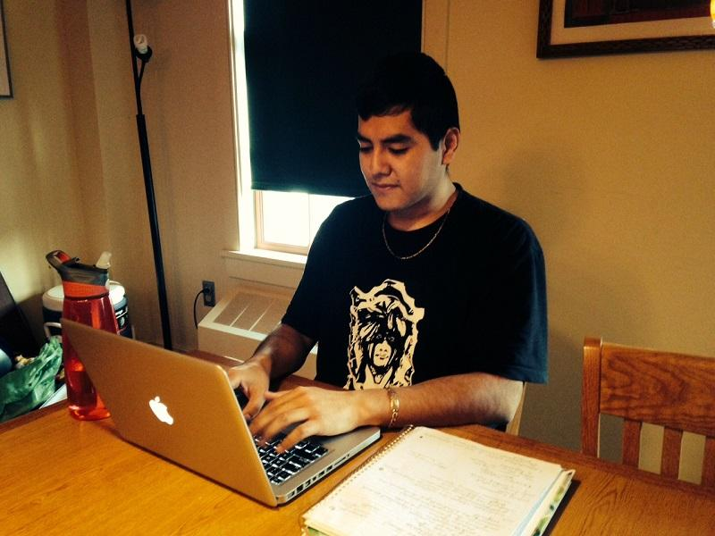 Oscar Ruben Cornejo Casares, who came to the United States without citizenship documents, studies for exams at Dartmouth College. His parents will be shielded under the new policy announced by President Obama.