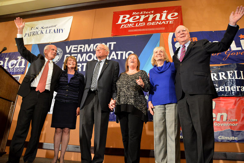 Vermont's congressional delegates and their wives appear at the Democratic Party's headquarters at the Hilton in Burlington on Tuesday evening.