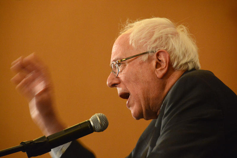 Sen. Bernie Sanders speaks in Burlington on Tuesday evening.
