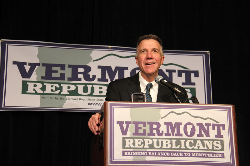 Republican Phil Scott, shown here at the Republican Party's headquarters at the Sheraton Hotel in Burlington on Tuesday evening, will serve another term as Vermont's Lt. Governor.
