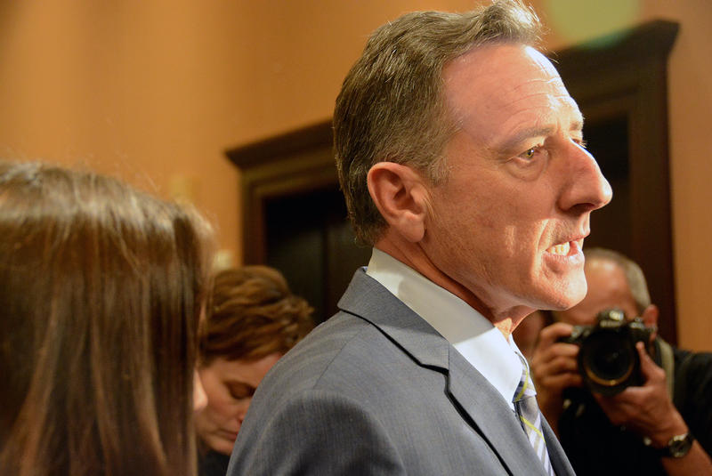Gov. Peter Shumlin, shown here at the Vermont Democrats' headquarters on Tuesday evening, appears to have declared a tentative victory in the gubernatorial race over Republican Scott Milne.