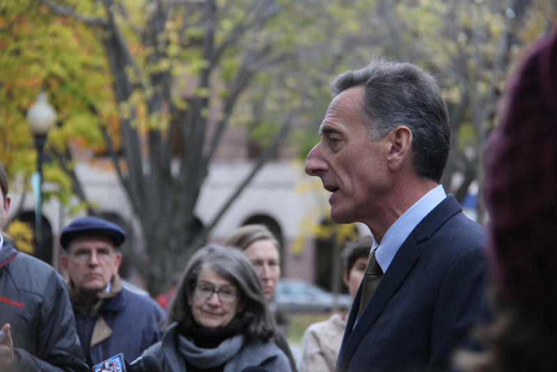 Gov. Peter Shumlin declared victory over Republican challenger Scott Milne at a news conference Wednesday afternoon.