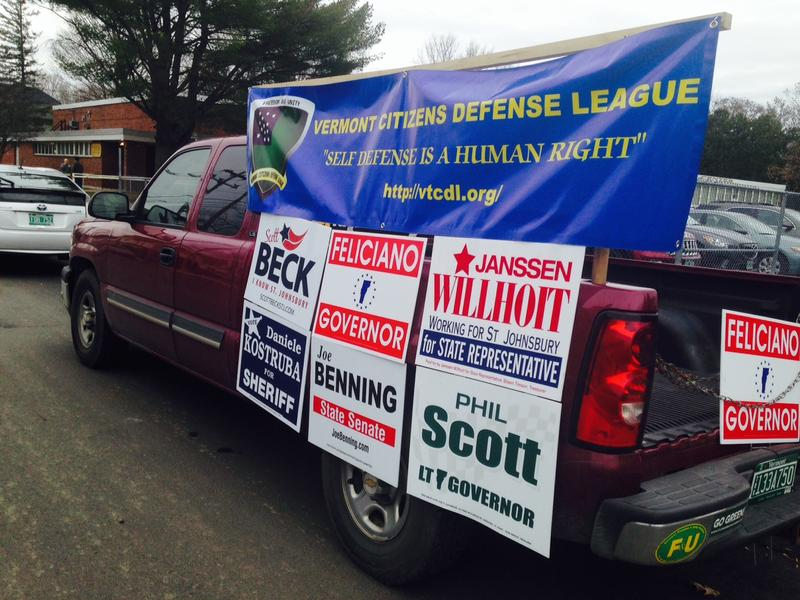 Second amendment advocates parked outside a polling place in St. Johnsbury around lunchtime on Tuesday.