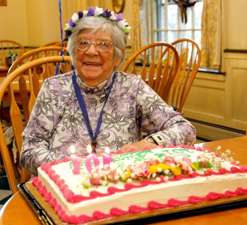 Lida Surridge, 101, celebrates her birthday at a party in her honor at the Darling Inn Apartments in Lyndonville.