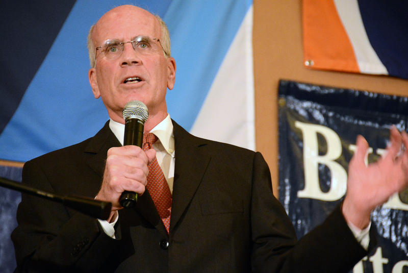 Rep. Peter Welch, shown here at the Vermont Democrats' headquarters on election night on Nov. 4, 2014, told Vermont Edition Friday that he will back Bernie Sanders as both a voter on Super Tuesday and a superdelegate in July.