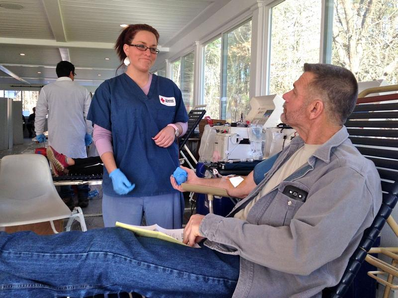 Kurt Miller of Castleton gives blood at the first of 12 blood drives to be held in Rutland county this month as part of the annual Gift Of Life Marathon.