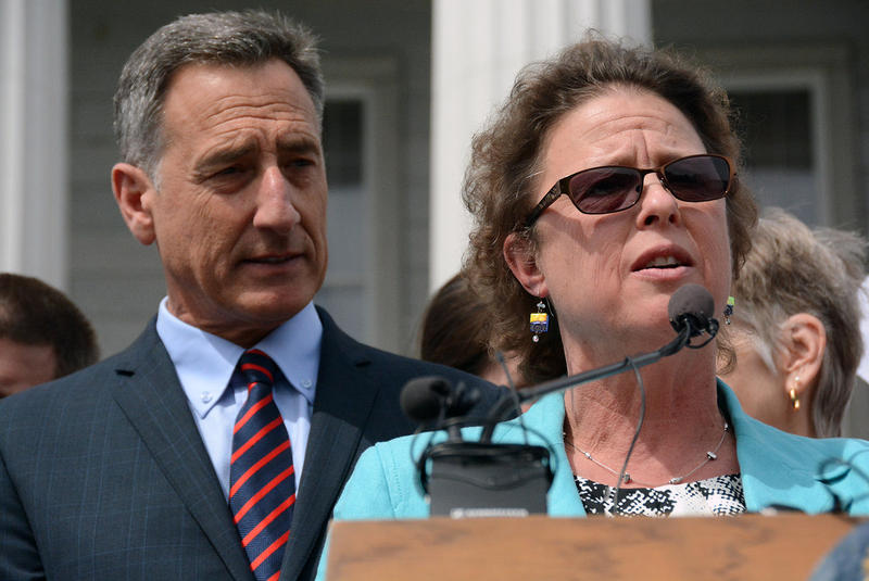 Rep. Kate Webb speaks before Gov. Peter Shumlin signs Vermont's GMO labeling bill into law in May. Webb has traveled to Washington, D.C., to fight a bill that would undermine Vermont's law, which is already being challenged by food industry trade groups.