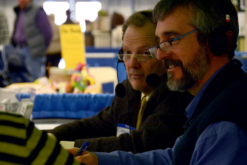 Agriculture Secretary Chuck Ross, left, and DEC Commissioner David Mears, speaking on Vermont Edition at the annual Vermont Farm Show.