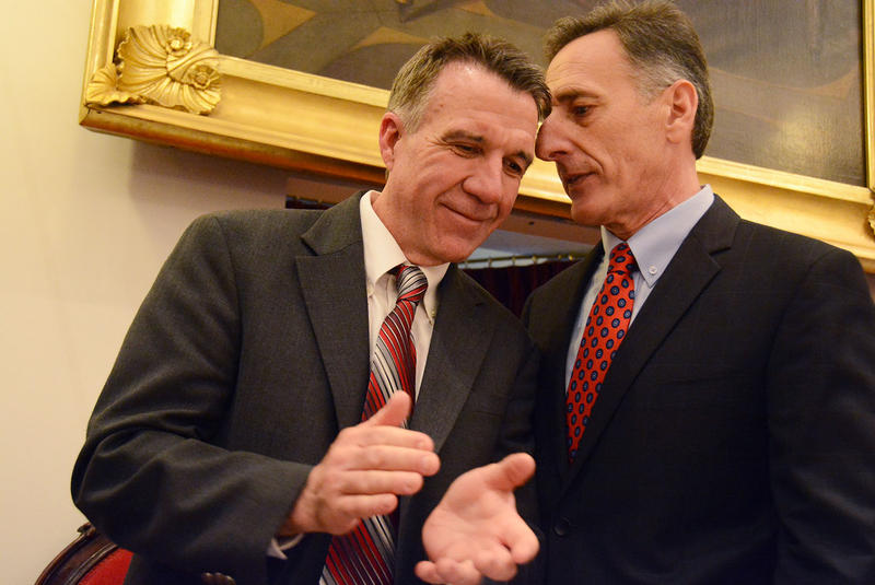 Lieutenant Governor Phil Scott, left, with Governor Peter Shumlin, after the governor delivered his inaugural address on Jan. 8..