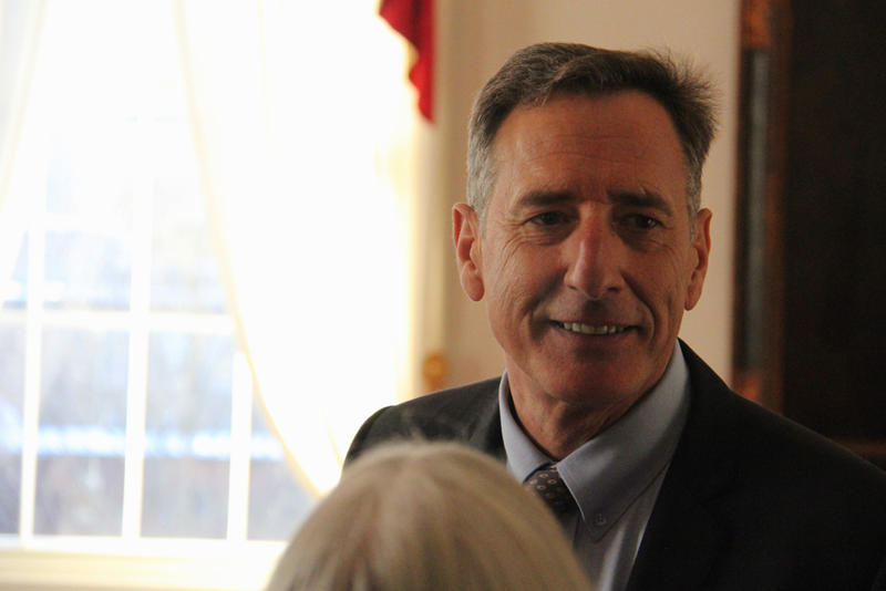 Gov. Peter Shumlin greeted staff after delivering his budget address Thursday, in which he proposed an increased payroll tax on Vermont businesses.