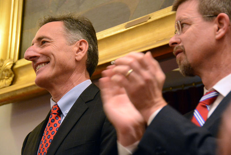 "Gov. Peter Shumlin, left, said he would release ""any documents you wish to look at"" in a Dec. 17 press conference. Weeks later, he's withholding scores of documents about his single payer financing plan."