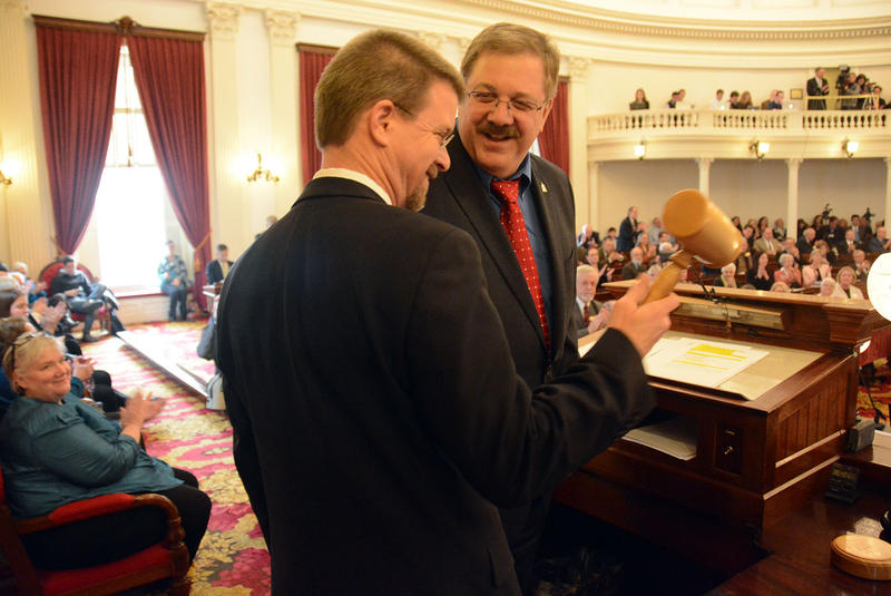 Speaker of the House Shap Smith receives the gavel from Secretary of State Jim Condos on the opening day of the 2015 Legislative session. The intervening months were not without drama, but lawmakers did manage to get some work done.