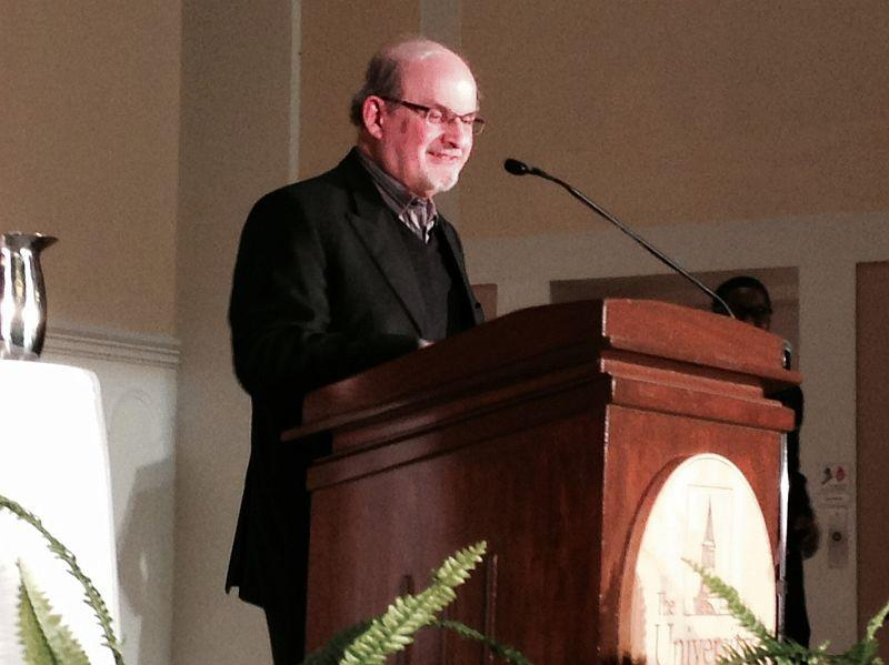 Author Salman Rushdie speaks at the University of Vermont on Wednesday, January 14, 2015.