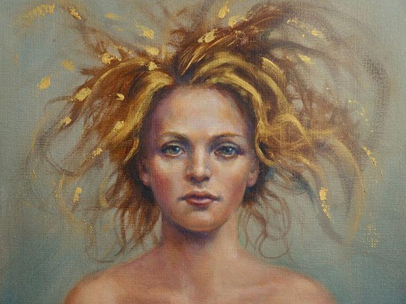 """An oil-on-linen painting, titled, """"Who Does She Think She Is"""" is part of the exhibit, """"The Eyes Have It,"""" up now at the Vermont Supreme Court gallery in Montpelier."""