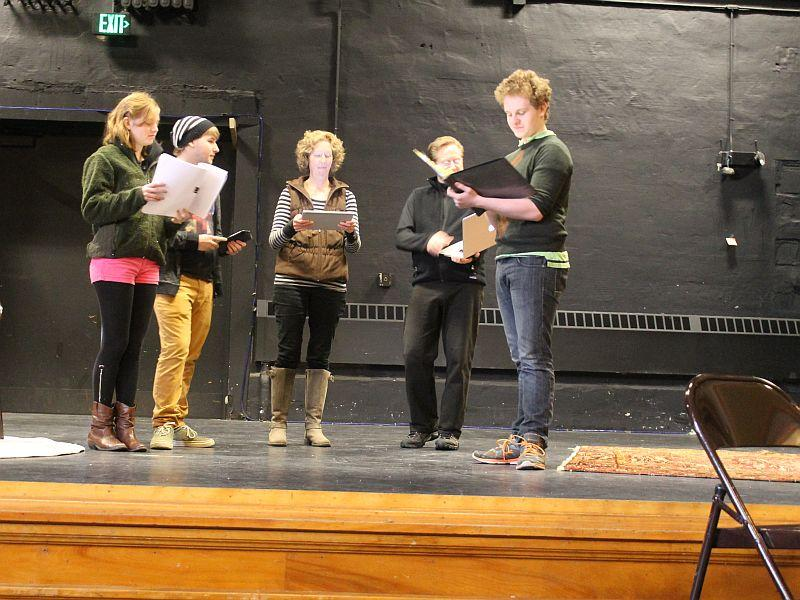 "Local students run their lines for the play ""m or f?"" on stage Saturday, Jan. 24 at the Chandler in Randolph."