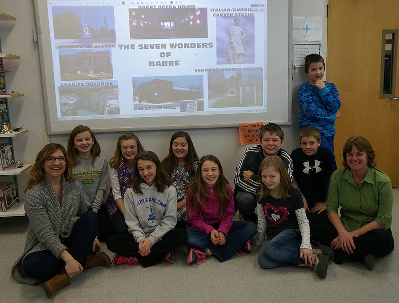 """In """"The Center of Everything,"""" Nero and Ruby talk about the Seven Wonders of the World. These Barre City fifth graders came up with their own Seven Wonders of Barre, projected here."""