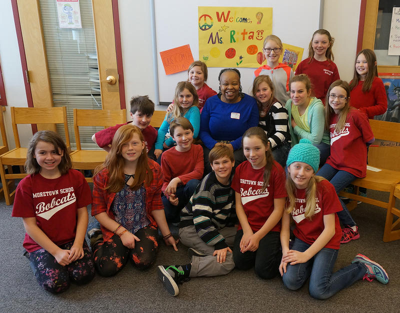 "Author Rita Williams-Garcia stopped by the Moretown School to meet a group of fourth, fifth and sixth graders reading ""P.S. Be Eleven"" with teacher-librarian Meg Allison."