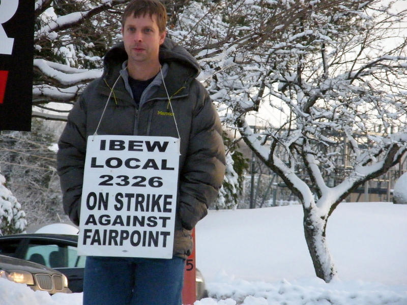 "FairPoint employee Derek Whitney, shown here picketing in South Burlington on Jan. 12, heads back to work Wednesday after a months-long strike. ""Right now what we have is better than what we were going to get,"" Whitney says."