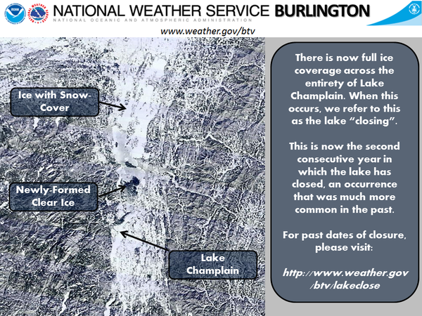 The National Weather Service in Burlington tweeted this image showing Lake Champlain fully frozen over.