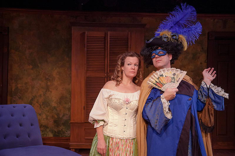 "Chris Caswell, left, plays Aphra Behn, the first professional female playwright in Liz Duffy Adam's play ""Or."" The play is set in the post-Puritan era in England and portrays the female sexual revolution."