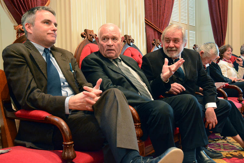 Senate Judiciary Committee Chairman Dick Sears, center, shown here in January, unleashed an epic verbal smack down on Ed Cutler, the president of Gun Owners of Vermont, on Wednesday.