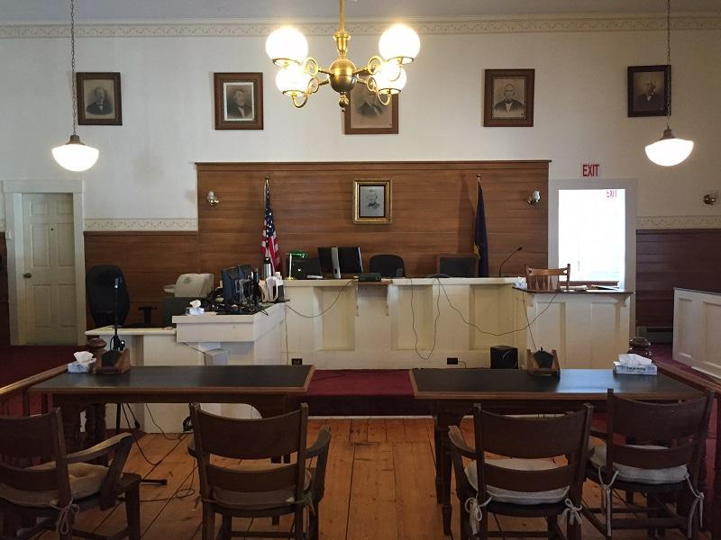The Essex County courtroom in Guildhall is like an antiques gallery, with vintage desks, chairs and paintings. It was built in 1851 and is one of the courthouses facing possible closure due to budget cuts.