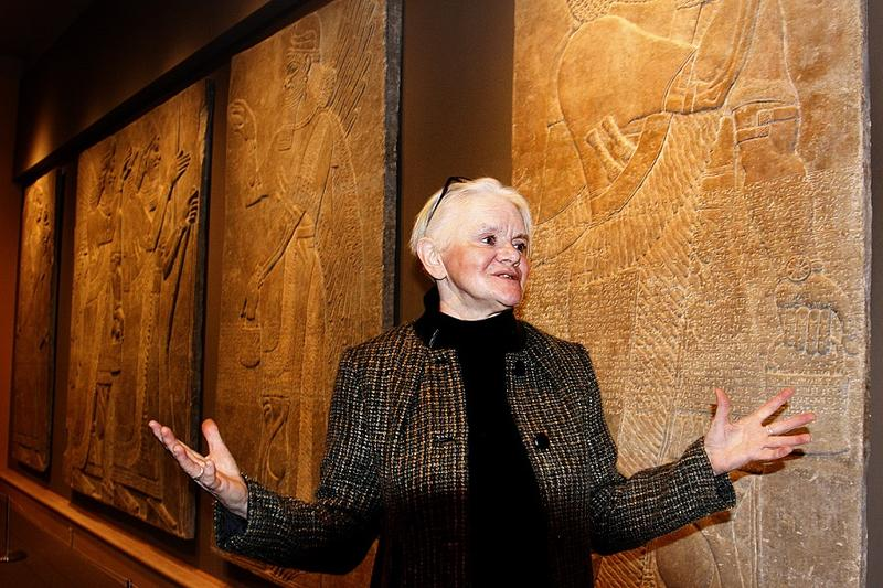 Susan Ackerman, a religion professor at Dartmouth College, explains symbolism of rare and valuable Assyrian panels at the Hood Museum. Videos have surfaced that show the possible destruction of similar artifacts in Iraq by the so-called Islamic State.