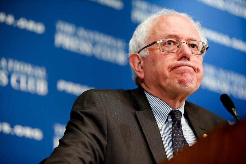 Potential presidential candidate Sen. Bernie Sanders, shown here speaking at the National Press Club in Washington, D.C., on March 9, is trailing in a poll released by CNN Wednesday.