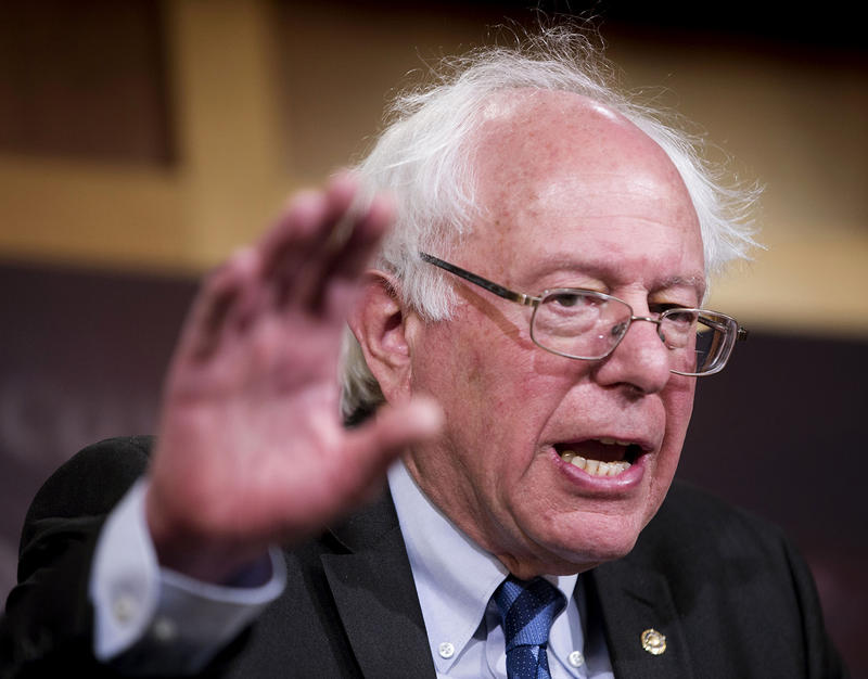Sen. Bernie Sanders, shown here in Washington on March 11, says he views a potential bid for the While House as an opportunity to highlight a core set of issues, among them climate change and affordable health care.