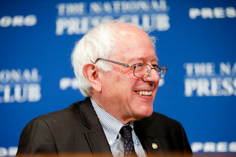 Sen. Bernie Sanders, I-Vt., speaks at a luncheon at the National Press Club on Monday in Washington.