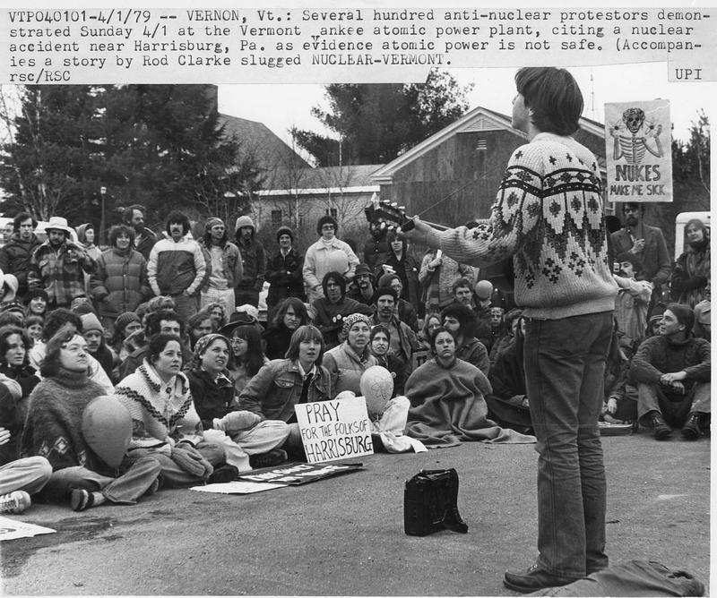 Protestors gather at the Vermont Yankee nuclear power plant in April 1979.