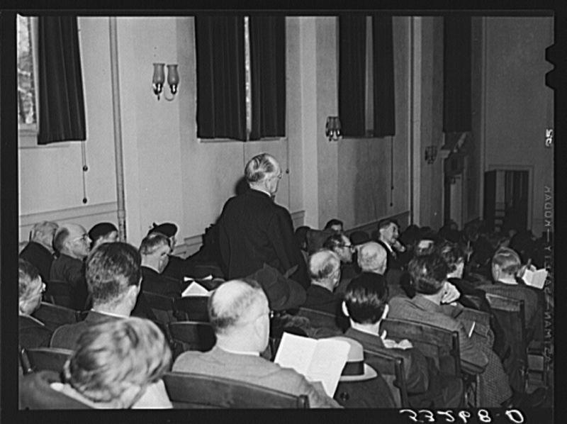 Woodstock resident mid-speech at 1940 Town Meeting