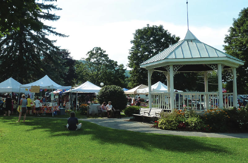 Waterbury's village green is home to a seasonal farmer's market.