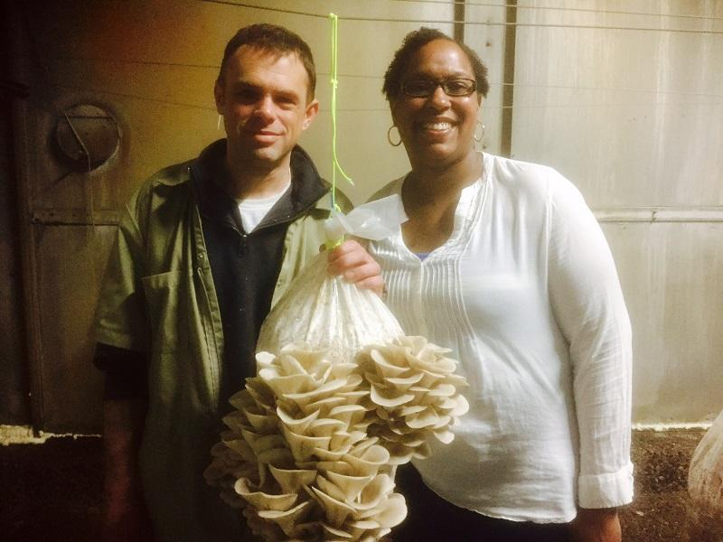 Bob and Lisa Brown show off some of their first mushroom crop, harvested at MushroomKing, their new farm and production center in St. Johnsbury.
