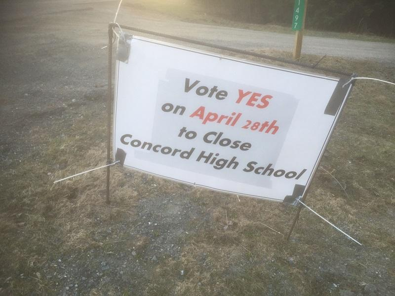 Voters who favored closing Concord's High School prevailed by a vote of 285 to 210 in a close election on April 28.